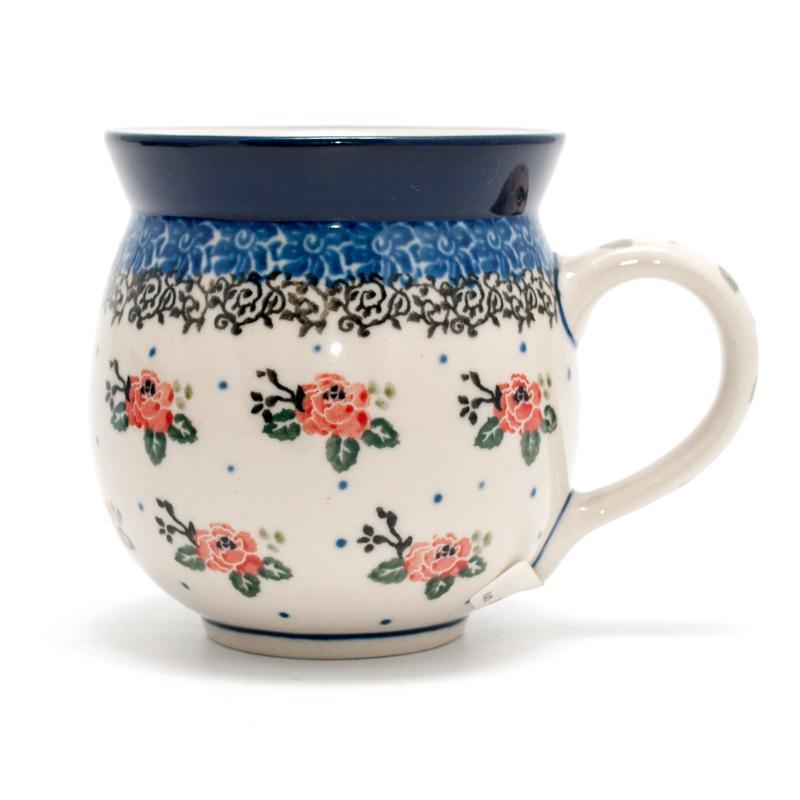 """Кружка с цветочным узором и синей каймой """"Чайная роза"""""""