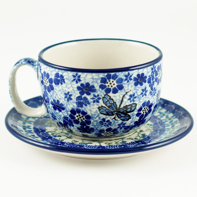 """Узорная чайная чашка с блюдцем """"Стрекоза"""""""