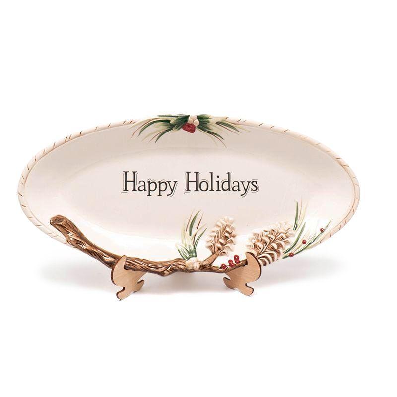 """Блюдо новогоднее овальное с надписью """"Лесной мороз"""""""