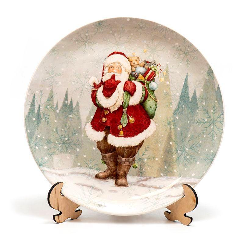 """Блюдо новогоднее """"Санта с мешком подарков за спиной"""""""