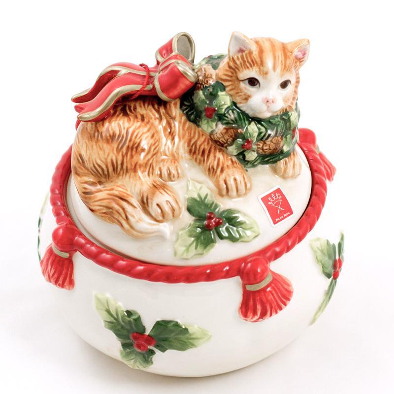 """Новогодняя керамическая шкатулка """"Нарядный котенок"""""""