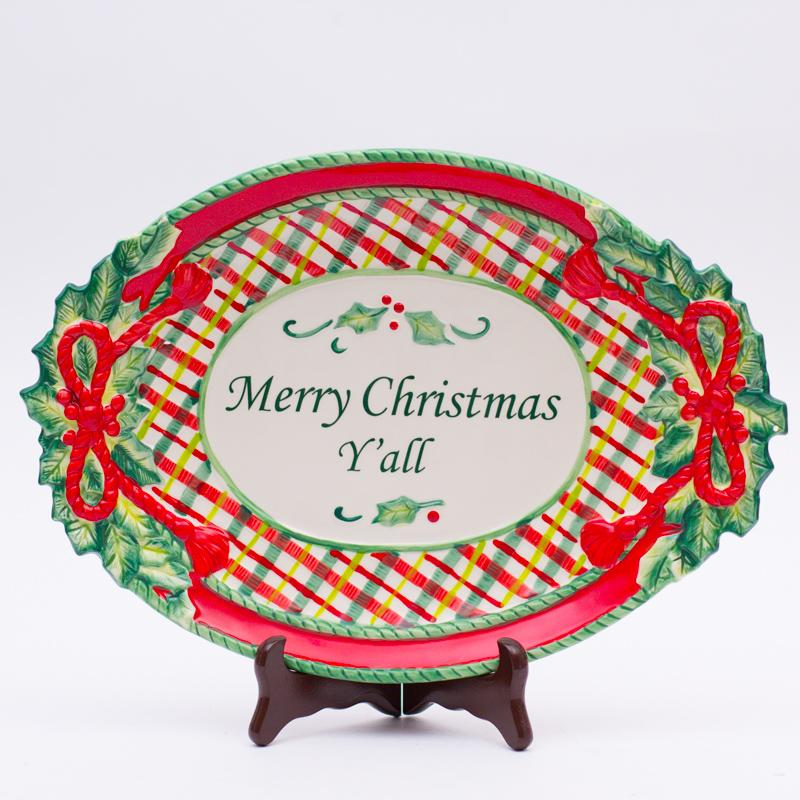 """Блюдо овальное """"Merry Christmas Y'all"""""""