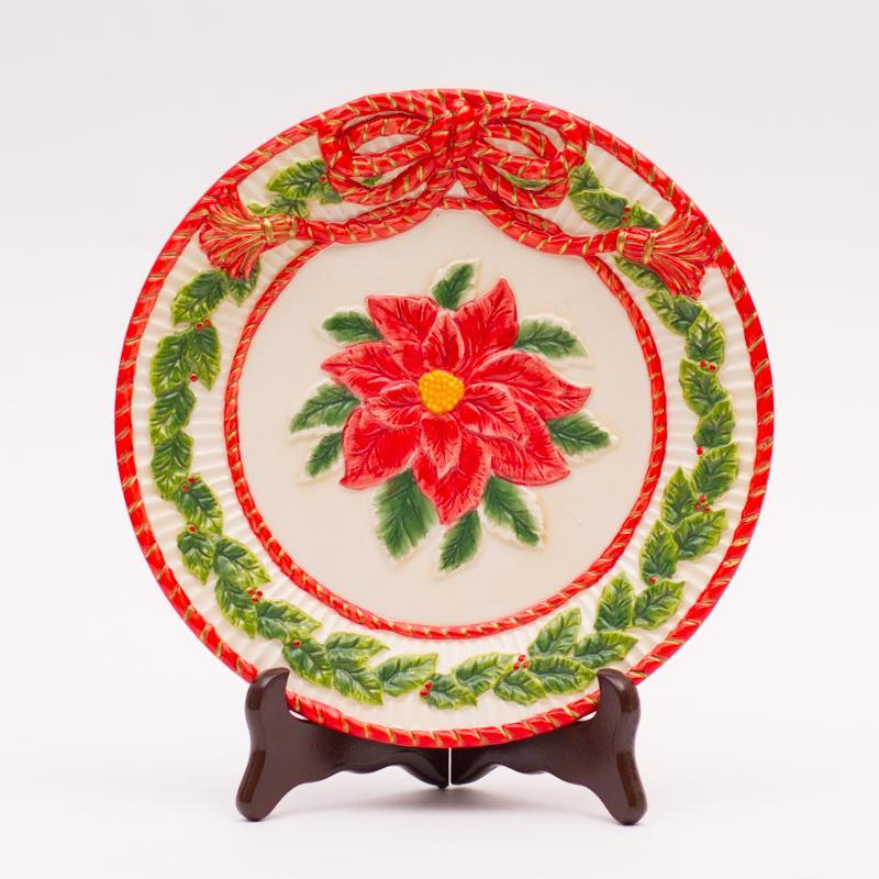 """Круглая тарелка """"Рождественская роза"""""""