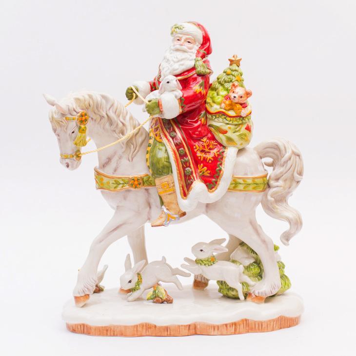 Большая статуэтка Санта на лошади
