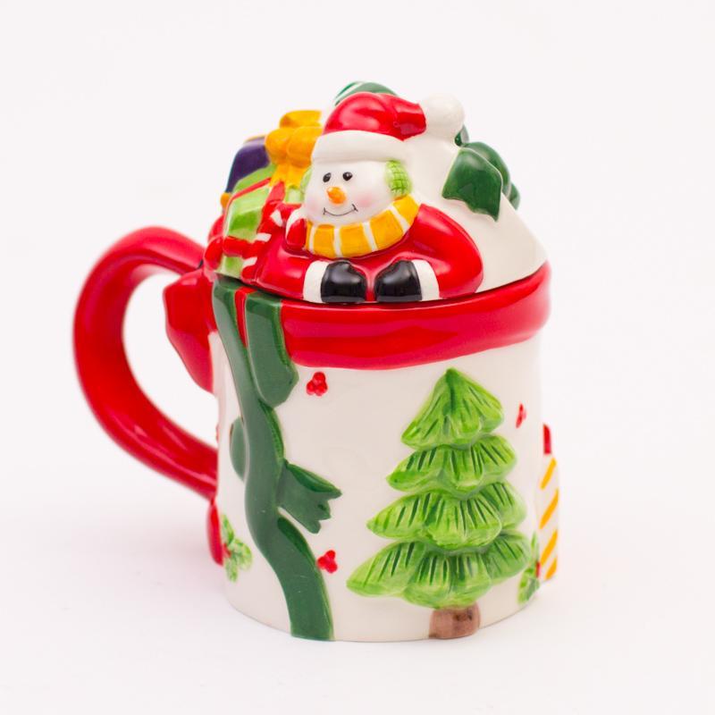 Новогодняя чашка с крышкой