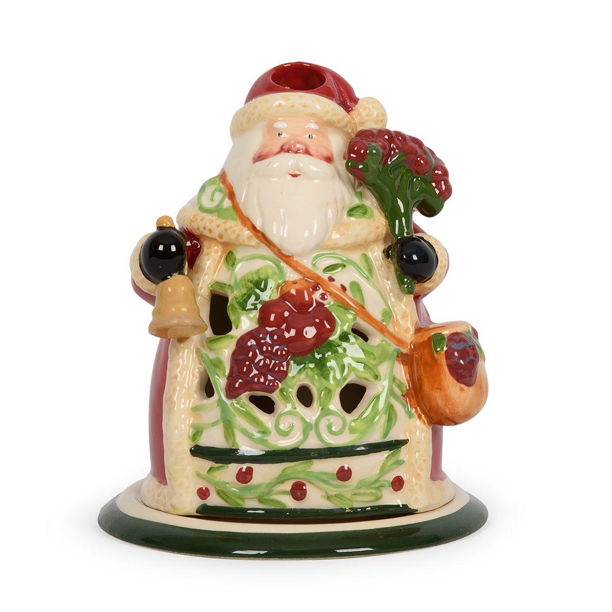 Новогодний керамический подсвечник в виде Деда Мороза