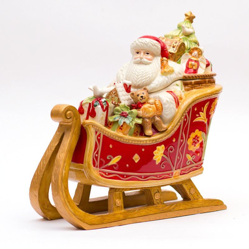 """Бисквитник емкость для хранения печенья и сладостей """"Дед Мороз в санях"""""""