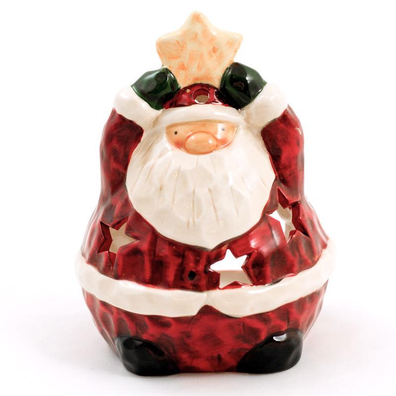 """Подсвечник с отверстиями в форме звездочек """"Дед Мороз"""""""