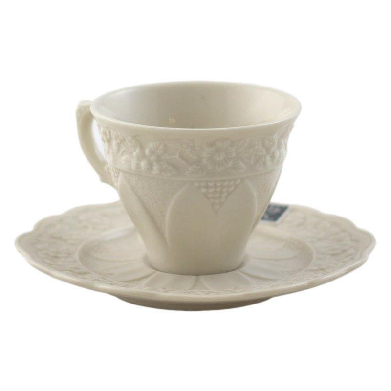 Чашка с блюдцем для кофе с рельефным узором Crema