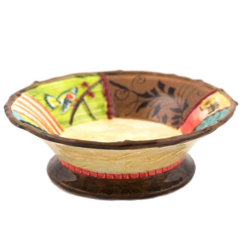 Керамическая тарелка для супа с ручной росписью Spring