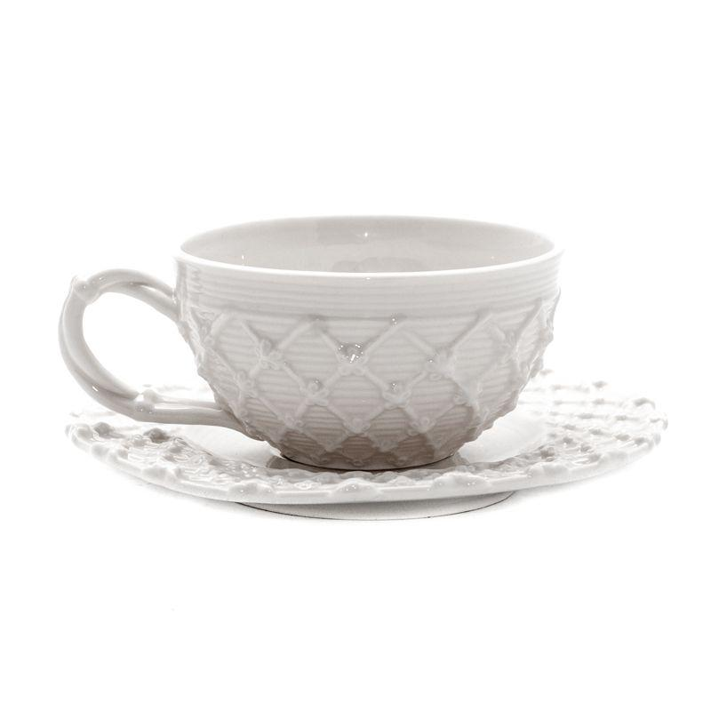 Белая чашка с блюдцем Trame in bianco