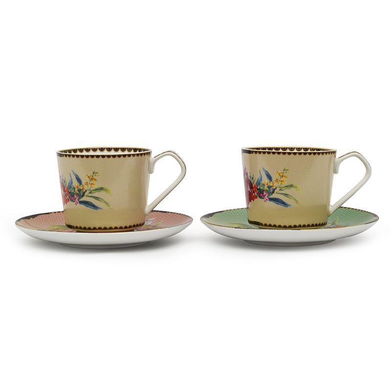 Набор из 2-х фарфоровых чайных чашек с блюдцами Ete Savage