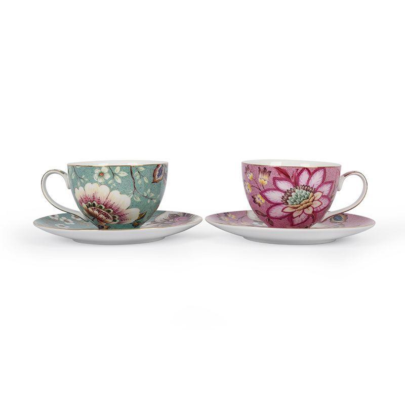 Чайный набор из 2-х чашек с блюдцами с цветами Fleurs
