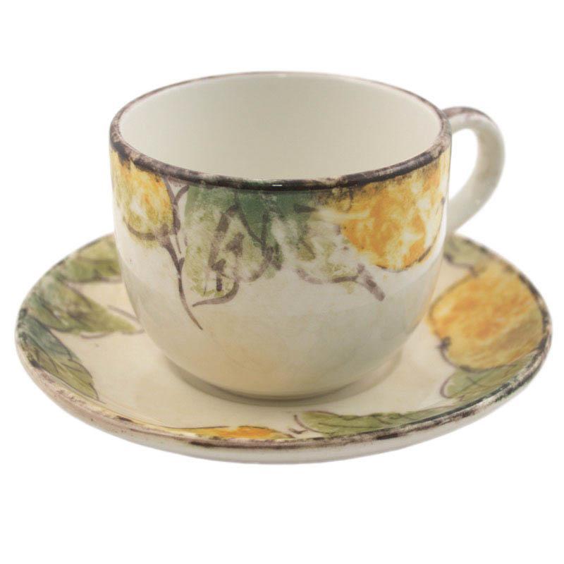 Чашка ручной работы с блюдцем Frutta