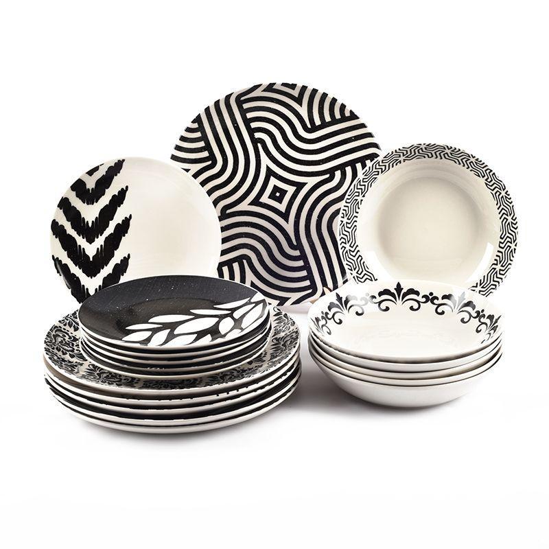 Сервиз столовый с абстрактным рисунком на 6 персон Black&White Maison