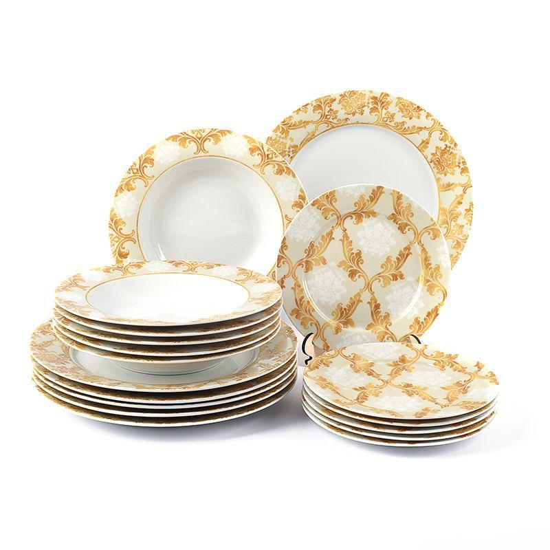 Сервиз столовый с золотистым орнаментом на 6 персон Queen Maison