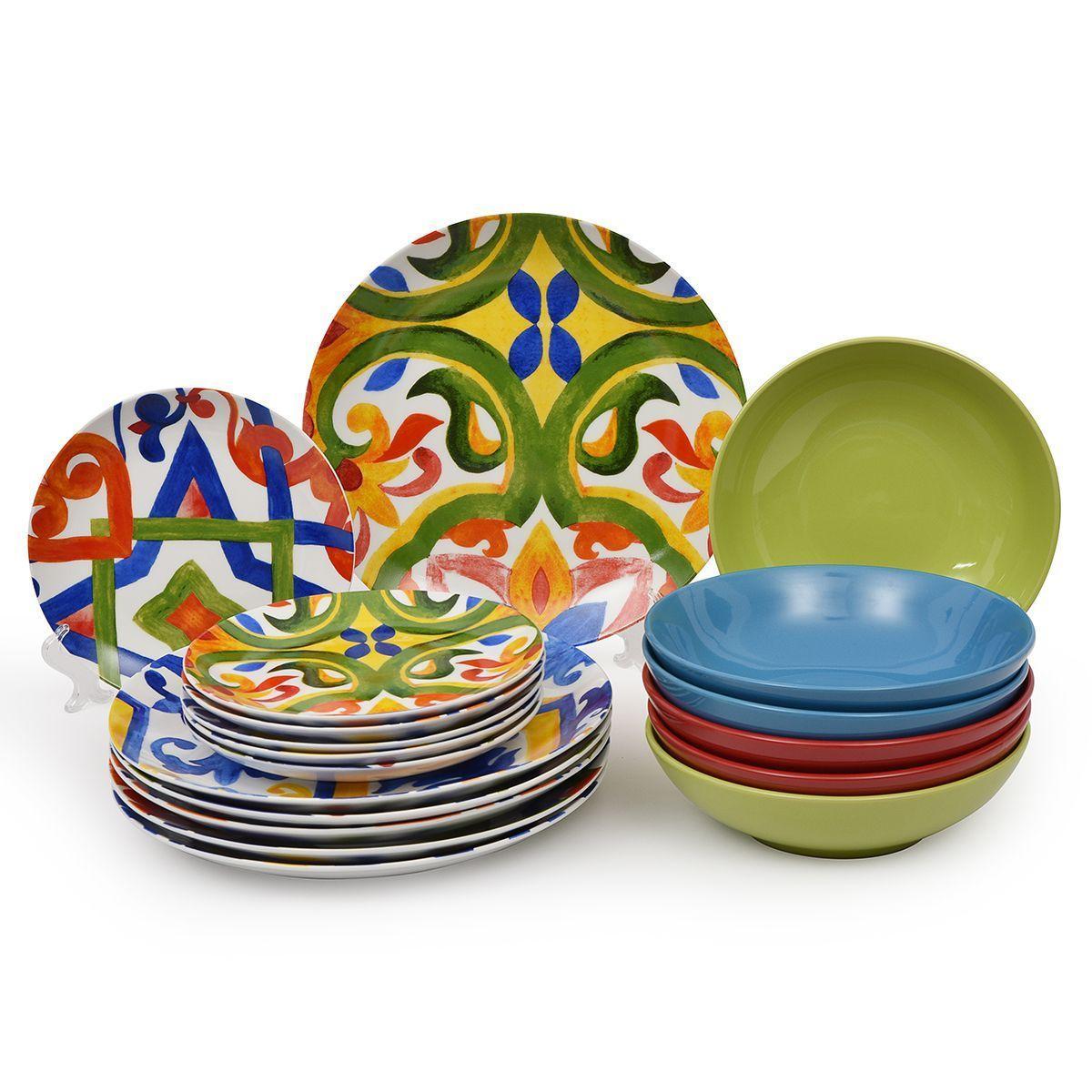 Разноцветный столовый сервиз на 6 персон Naxos