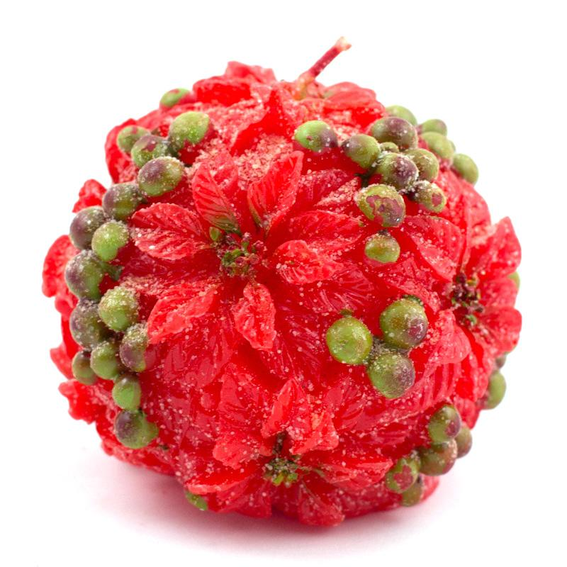 Красная свеча-шар с цветами пуансеттии