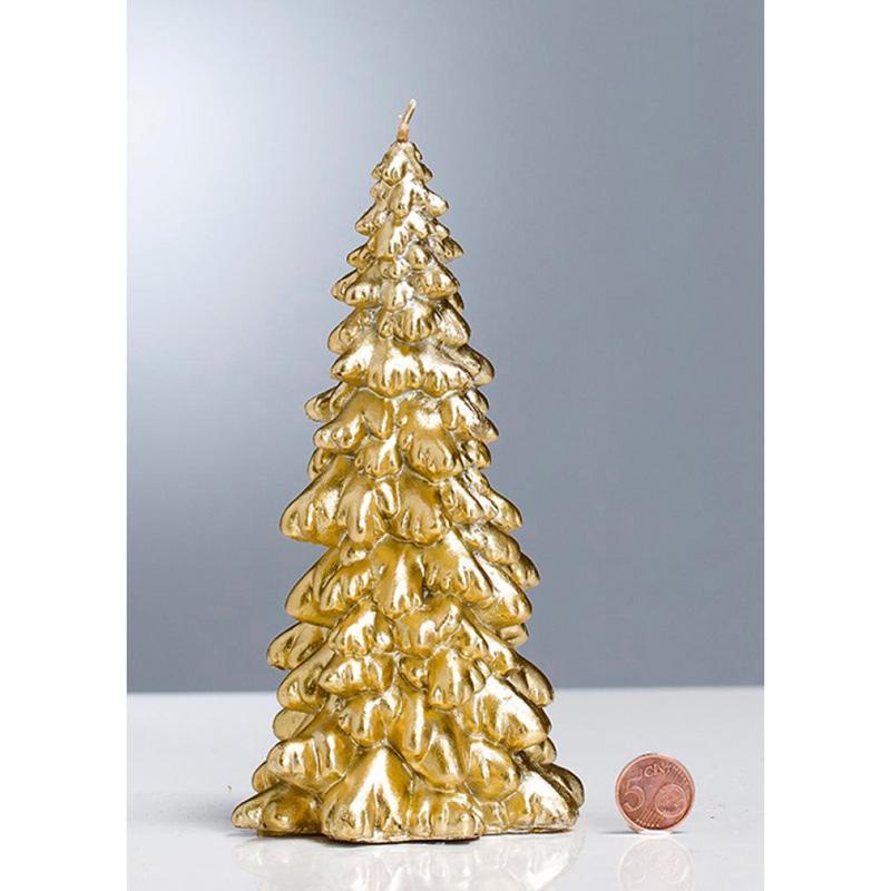 Высокая золотистая свеча в виде новогодней елочки