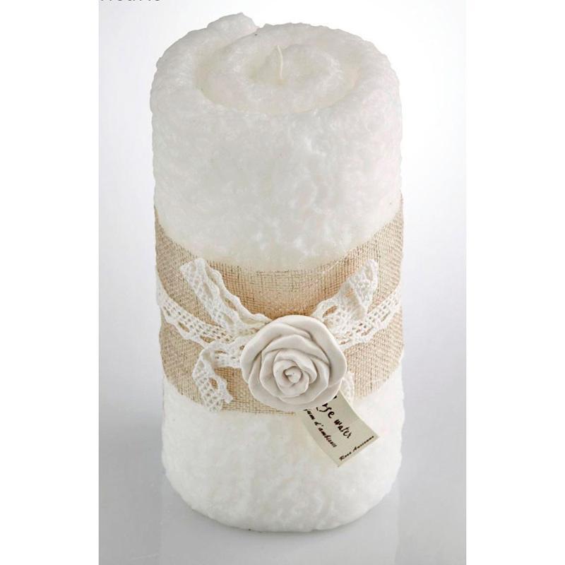 Свеча для ванной в виде полотенца с ароматом розы