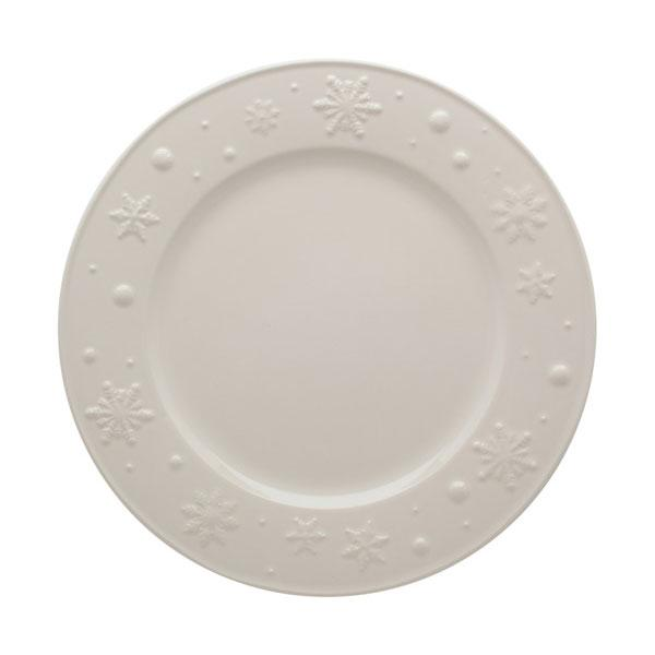 """Тарелка обеденная белая с выпуклым рисунком """"Снежинки"""""""
