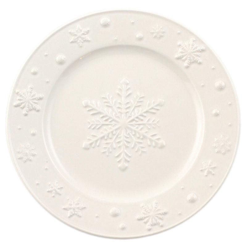"""Тарелка десертная белая с новогодним узором """"Снежинки"""""""