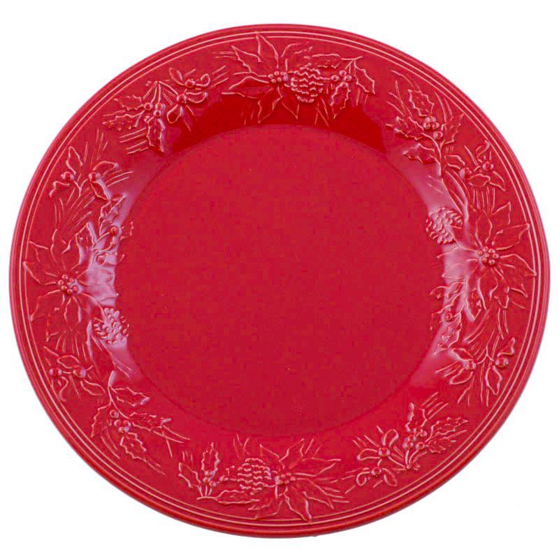 """Тарелка подставная с выпуклыми цветами пуансеттии """"Зима"""""""
