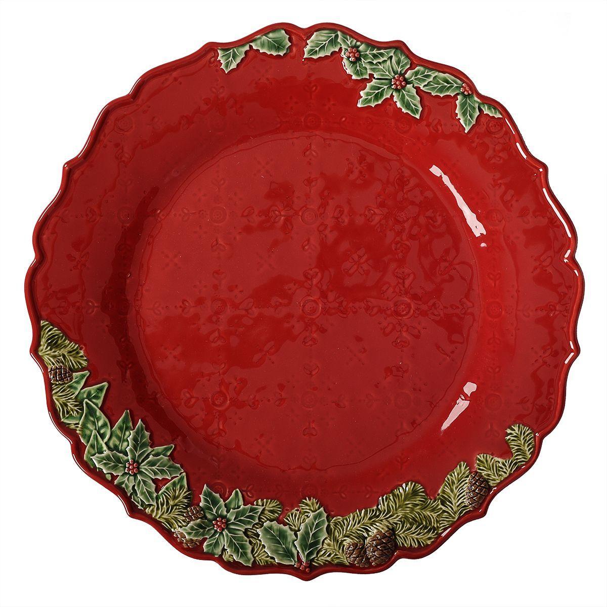 """Блюдо красное с волнистым краем """"Рождественская гирлянда"""""""