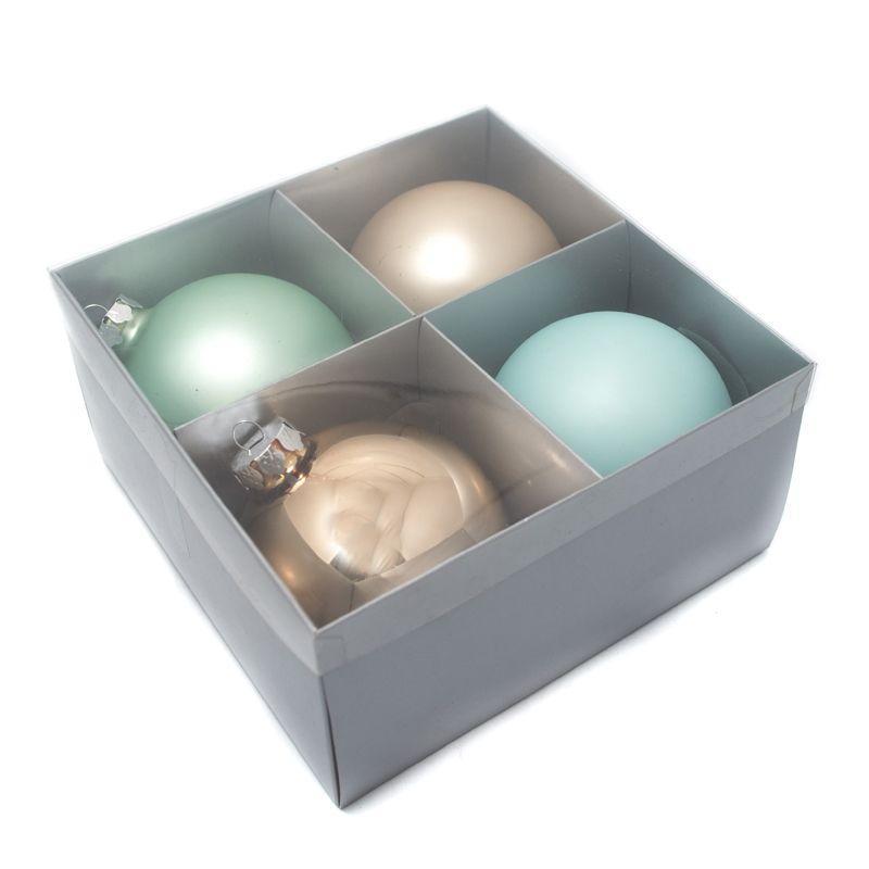 Комплект стеклянных шаров бежевого и зеленого цвета, 4 шт