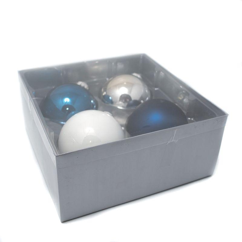 Комплект ёлочных шаров синего и белого цвета, 4 шт