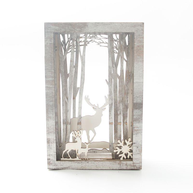 Новогодний декор с оленями с led-подсветкой внутри