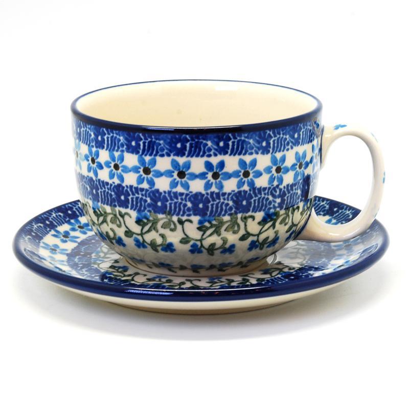 """Синяя чайная чашка с блюдцем """"Виноградная лоза"""""""