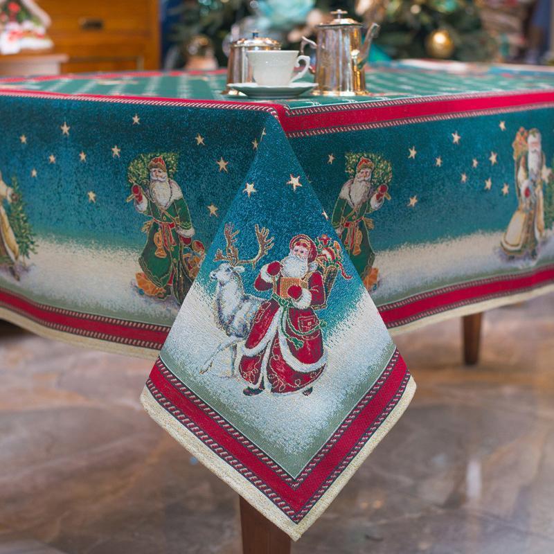 """Праздничная скатерть зеленого оттенка """"Дедушка Мороз"""""""