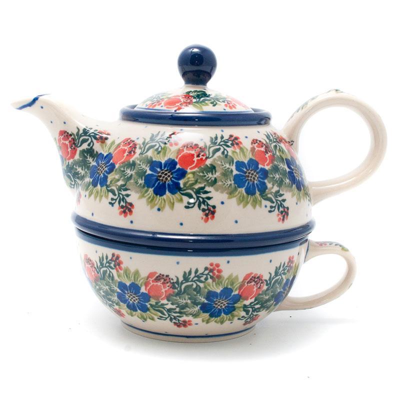 """Заварник для чая с чашкой из керамики """"Лесной веночек"""""""