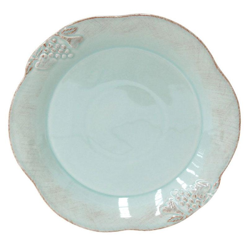 Тарелка обеденная бирюзовая в стиле кантри Mediterranea