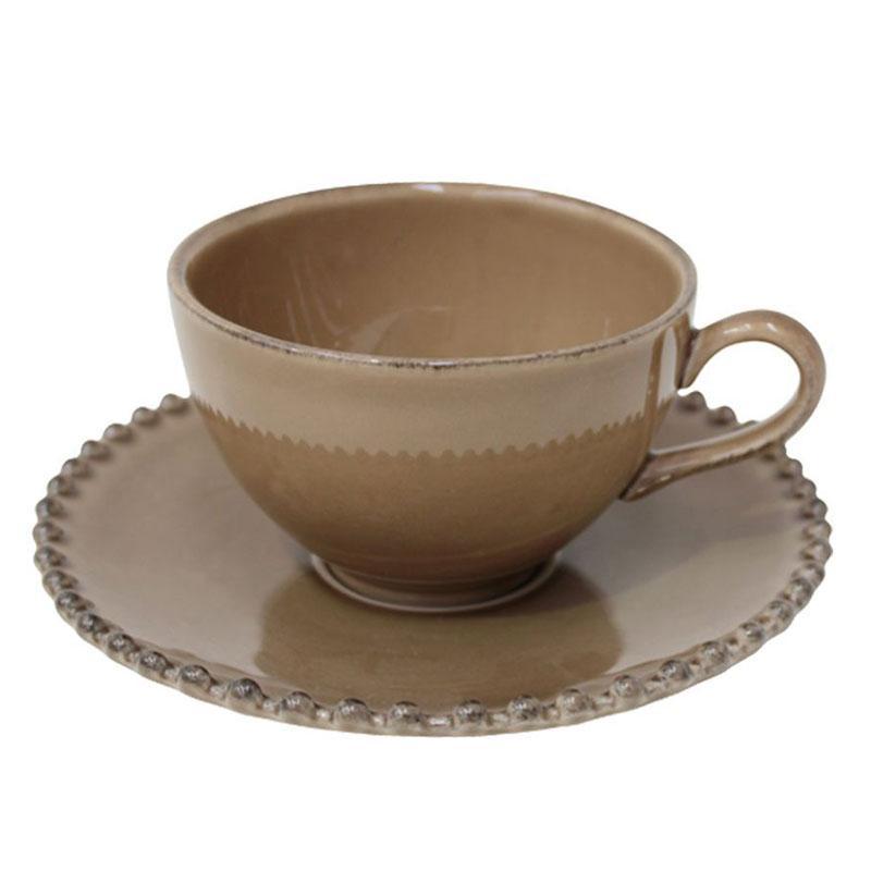 Чайная чашка с блюдцем цвета кофе с молоком Pearl