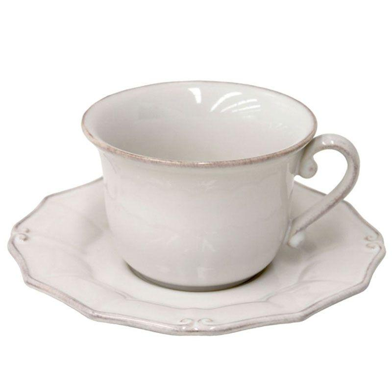 Белая чашка с блюдцем Barroco