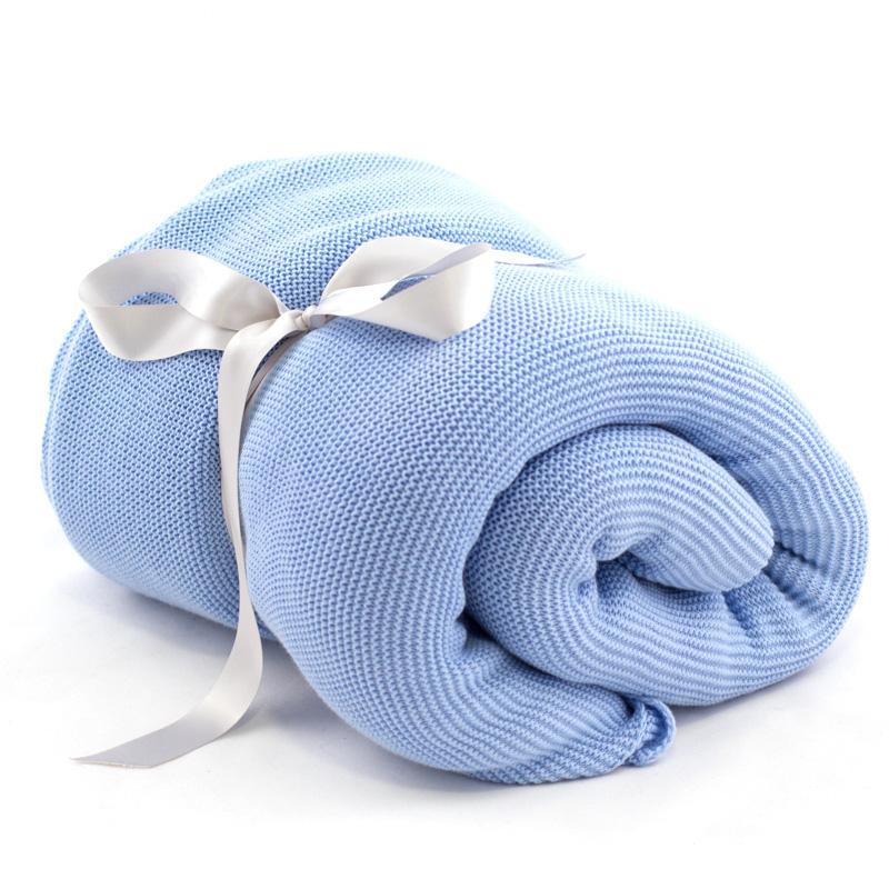 Плед большой голубой шерсть-акрил