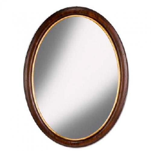 Зеркало овальное в деревянной раме - фото
