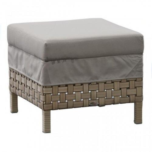 Плетеный пуф из ротанга с мягкой подушкой для улицы Cielo Skyline Design - фото