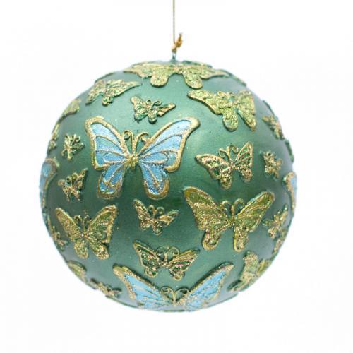 Новогодний шар на елку с декором в виде бабочек - фото