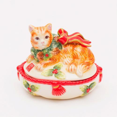 """Небольшая новогодняя шкатулка """"Нарядный котенок"""" - фото"""