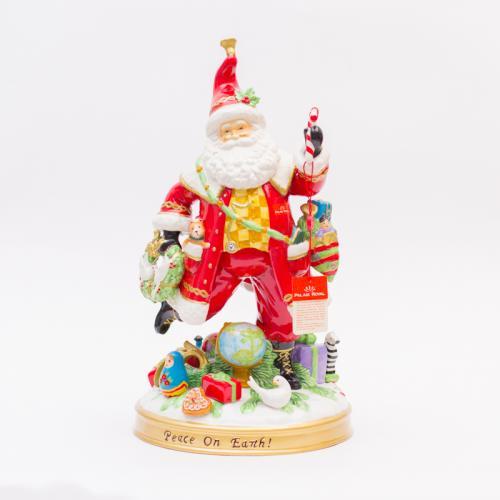Большая статуэтка из итальянской керамики на круглой подставке Дед Мороз - фото