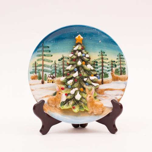 Новогодняя настенная тарелка с объемными элементами - фото