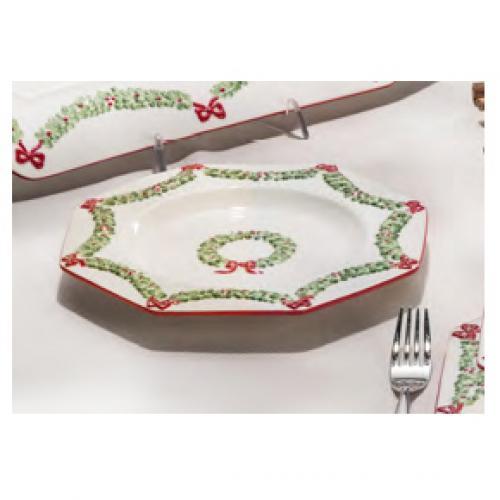 Тарелка подставная праздничная с рисунком гирлянды - фото