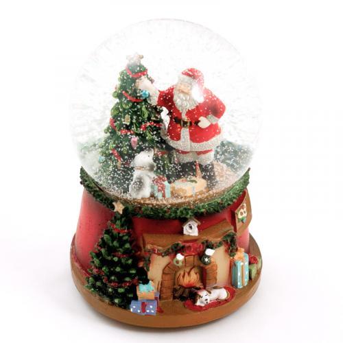 """Новогодняя музыкальная шкатулка-шар """"Санта с ёлочкой"""" - фото"""