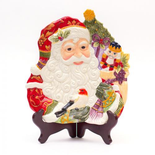 Тарелка рельефная в виде Санты с мешком игрушек - фото