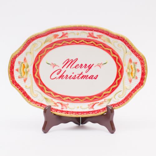 Блюдо овальное новогоднее с надписью Merry Christmas - фото