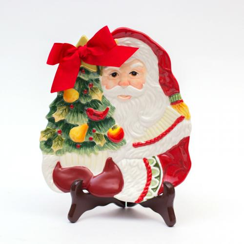 Тарелка новогодняя Санта - фото