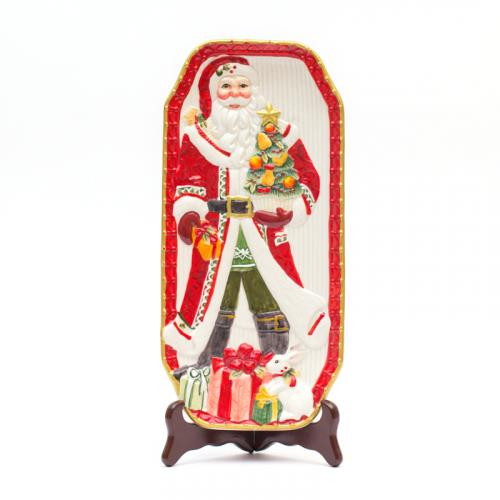 Прямоугольное новогоднее блюдо с изображением Санта Клауса - фото